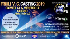 Iscriviti al Casting FVG di Voice For Europe Italia 2019: 13 e 14 Giugno (PN)