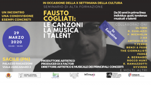 29/03/2020 Seminario di Alta Formazione con F. Cogliati: Le Canzoni, La Musica, I Talent
